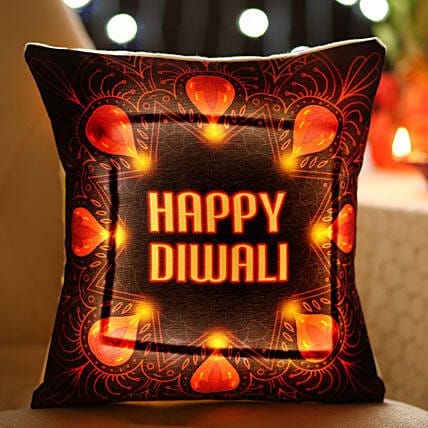 happy diwali printed led cushion