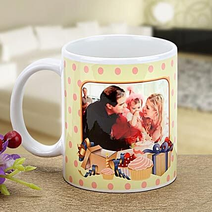 Lets Celebrate-Polka Dots Personalized Mug Yellow with Pink