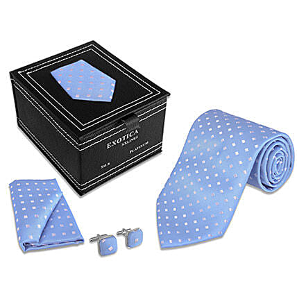 Blue Check Tie Set for Him