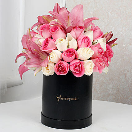 Charming Lilies N Rose Arrangement:Roses for Mother's Day