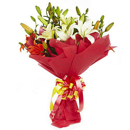 Lily Divine - Bouquet of 10 mix colour Asiatic lilies in a paper packing.