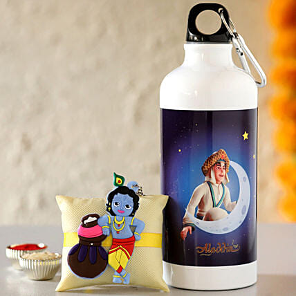 Kids Rakhi with Aladdin Photo Bottle