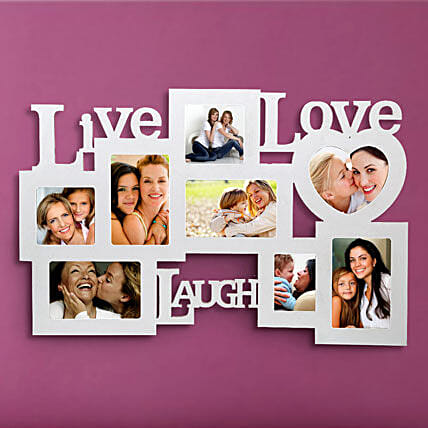 Live Love Laugh-White Live love laugh wall 24x15 personalized photo frame