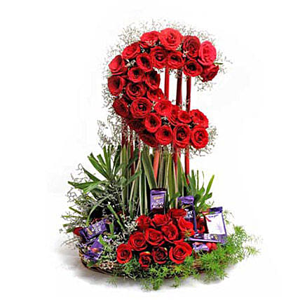 Loaded With Love - Tall moon shape arrangement of 50 Red roses with 10 dairy milk chocolates.