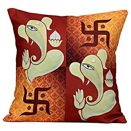 Lord Ganesha-Cushion is available 12X12 inches:Send Spiritual Gifts