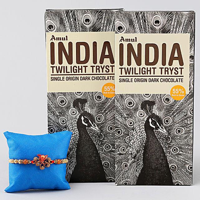 Lord Ganesha Rakhi & Amul Dark Chocolate