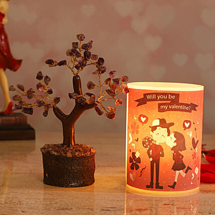 Love Couple Hollow Candle Amethyst Stone Wish Tree