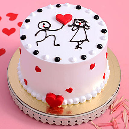 Online Love Couple Vanilla Designer Cake:Propose Day Cakes