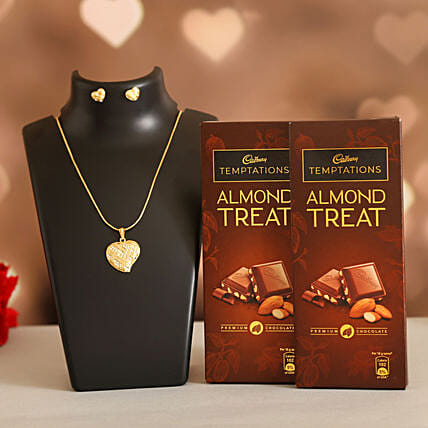 Love Heart Necklace Set Cadbury Almond Treats