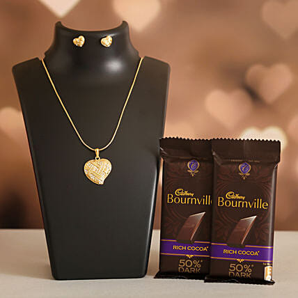 Love Heart Necklace Set Cadbury Bournville