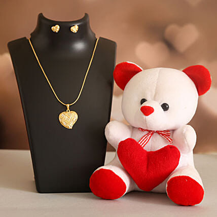 Love Heart Necklace Set Cute Teddy