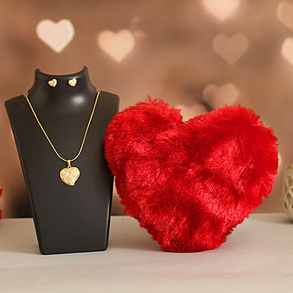 Love Heart Necklace Set Fuzzy Toy