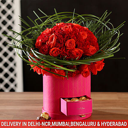 attractive red roses and chocolate box arrangement online