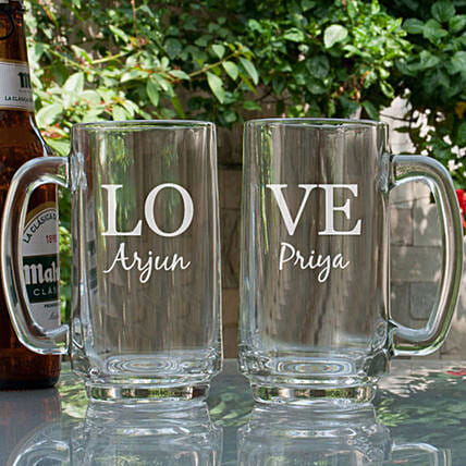 Love Personalised Beer Mugs Online:Personalised Glassware