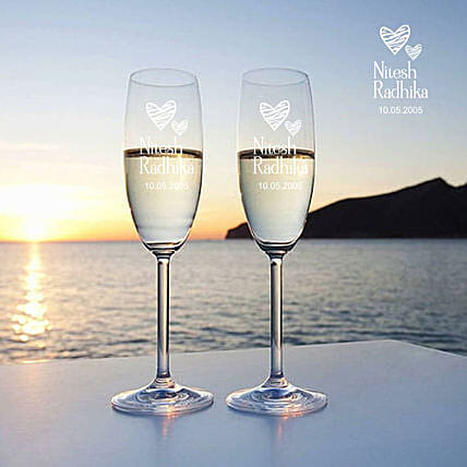 Love Personalised Champagne Glass Set of 2 Online