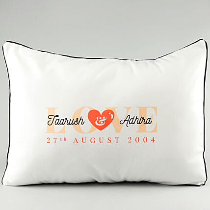 Name Printed Pillow Cover For Couple