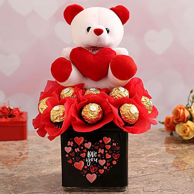 Cute Teddy with Ferrero Chocolates:Valentines Day Chocolates