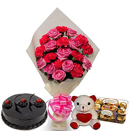 Love Treasure - One sided bunch of 10 Pink Roses, 10 Pink Carnations wrapped in cream color paper, 500gm Truffle Cake, 6 inch  and 200gm ferrero rocher box.