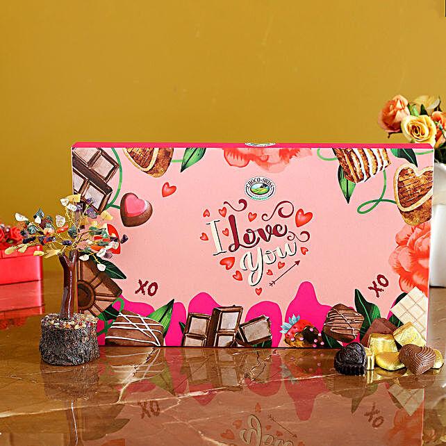 Love U Chocolate Box & Stone Wish Tree