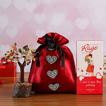 Love You Crunchy Chocolate In Red Potli & Wish Tree Online:Rage Chocolates