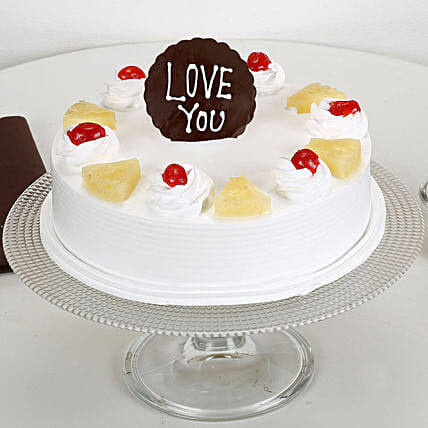 Fresh Pineapple cake with love u topper:Send Pineapple Cakes for Valentine's Day