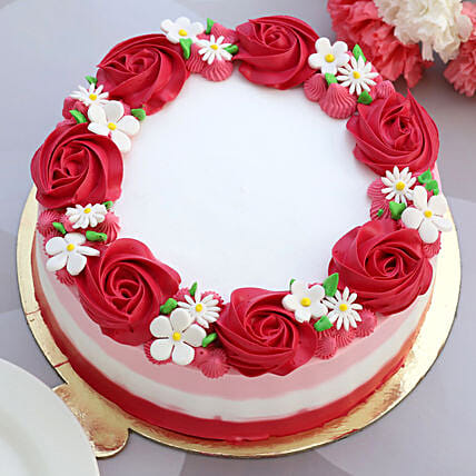 Lovely Red Roses Around Chocolate Cake