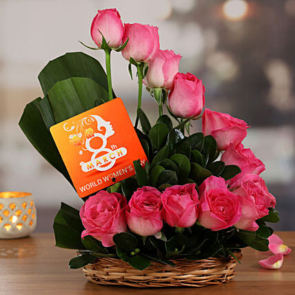 Lovely Roses Arrangement And Women Day Table Top