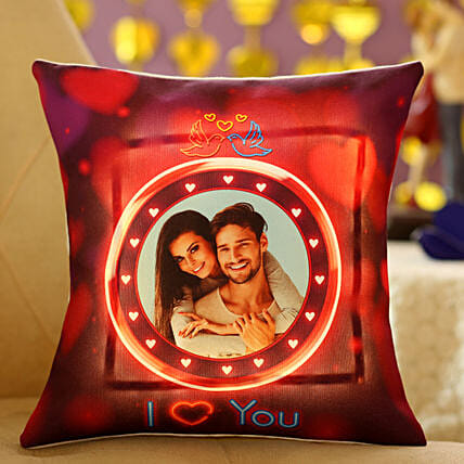 Lovey Dovey Personalised LED Cushion:Personalised Led-cushions
