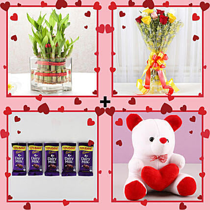 good luck combo for her in valentines day:Flowers N Plants