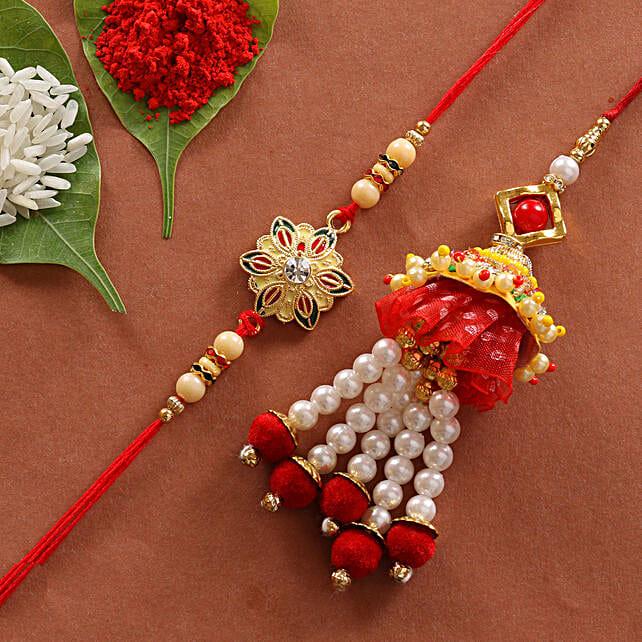 lumba and colorful rakhi online:Pearl Rakhi