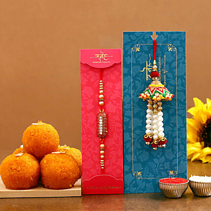 rakhi set with sweet for brother online:Rakhi With Sweets