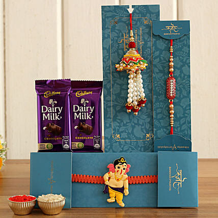 lumba rakhi n kid rakhi set with chocolate bars