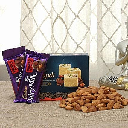 Chocolates with sweets and dry fruits:Diwali Sweets & Dry Fruits