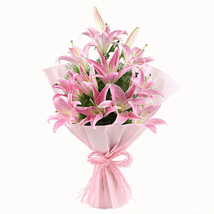Bunch of 6 oriental pink lilies womens day women day woman day women's day