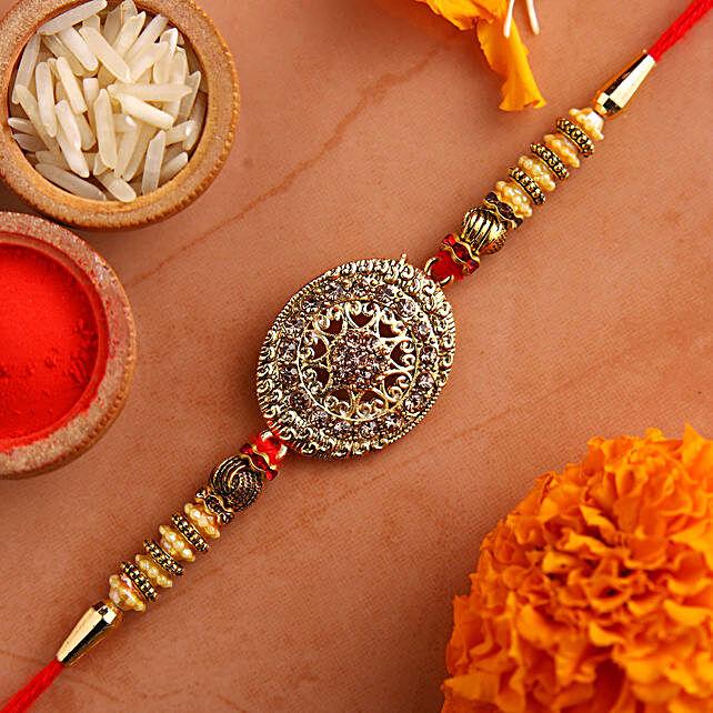 Luxury American Diamond Rakhi:Buy Ethnic Rakhi