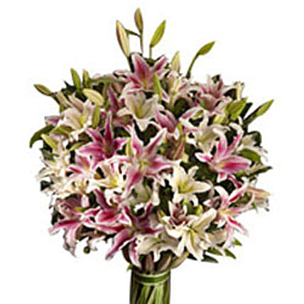 Majestic Affinity - 20 white and pink oriental lilies.