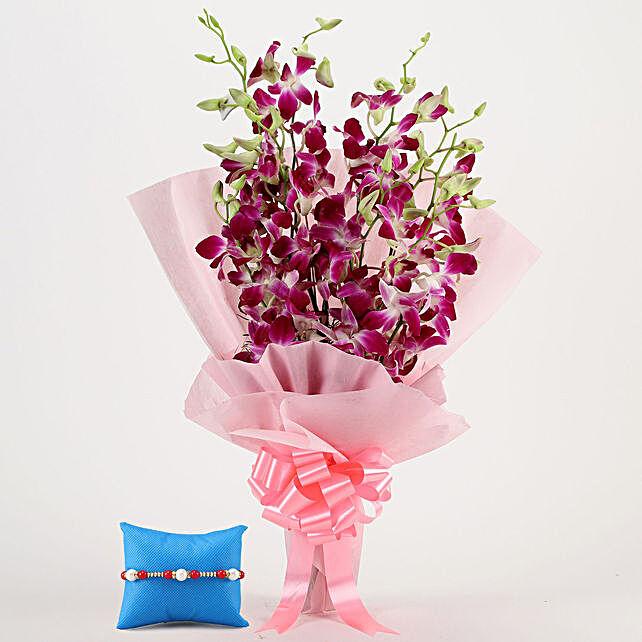 Online Majestic Orchids & Pearl Rakhi
