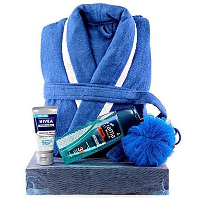 Man In Blue-Dark Blue Tray,Blue and White Bathrobe,Fiama Di Wills Body Wash Men,Blue Loofah,Nivea Advanced Whitening Face Wash Men