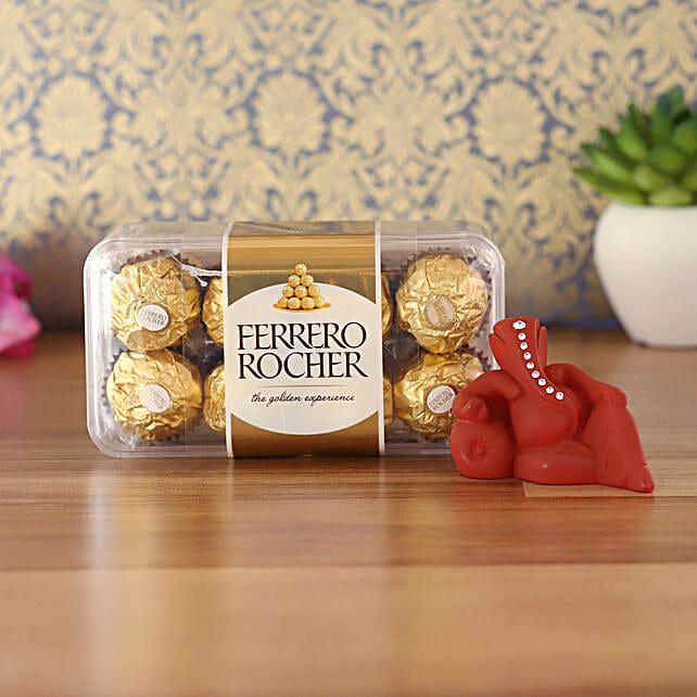 Maroon Resting Ganesha Idol & Ferrero Rocher Combo