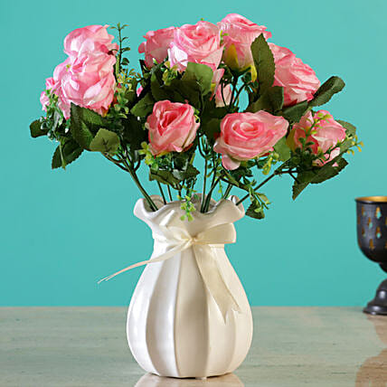 Artificial Pink Roses Arrangement