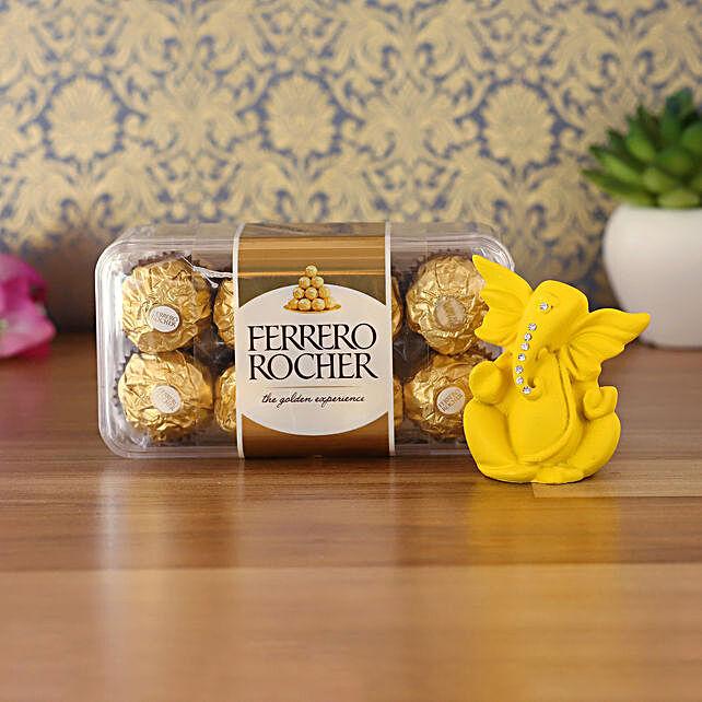 Matte Yellow Ganesha Idol & Ferrero Rocher Combo