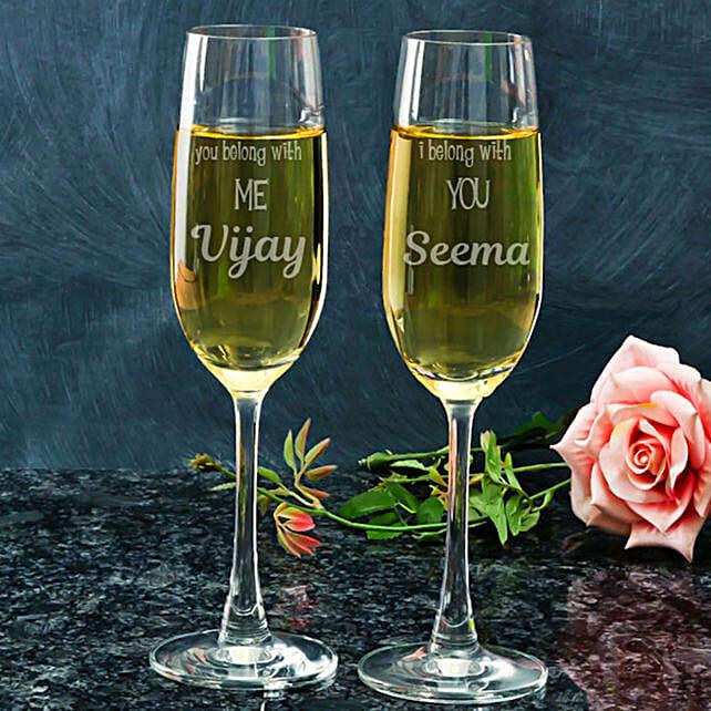 Set of Customised Champagne Glasses:Send Personalised Wine Glasses