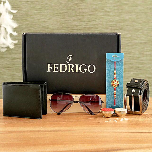 Meenakari Rakhi and Fedrigo Gift Set For Men