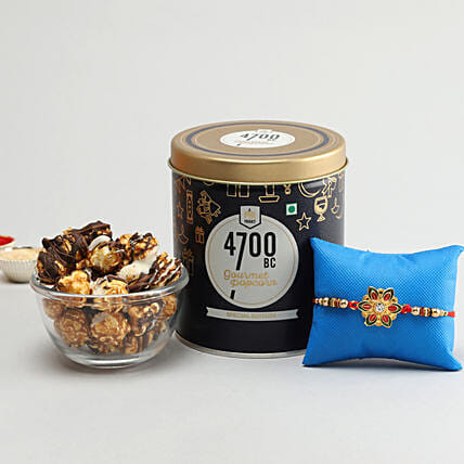 Online Rakhi with Chocolate Popcorn