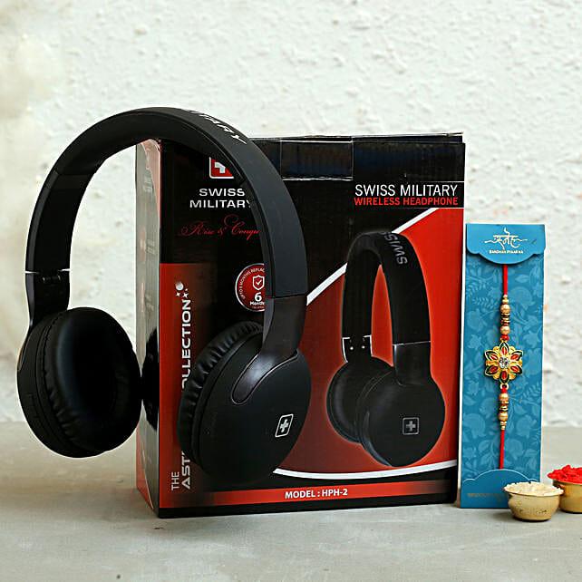 Meenakari Rakhi N Swiss Military Wireless Headphone Hamper:Rakhi With Gadgets