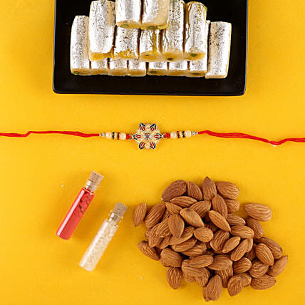 Meenakari Rakhi With Almonds & Kaju Roll