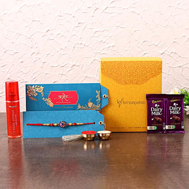 Meenakari Rakhi With Chocolates and Perfume