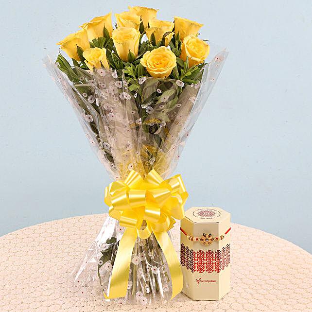 Designer Rakhi and Flowers for Brother