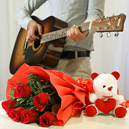 Online Red Roses And Teddy With Romantic Tunes Combo:Flowers & Guitarist Service