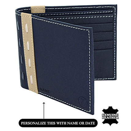 Online Blue & Beige Wallet For Men's